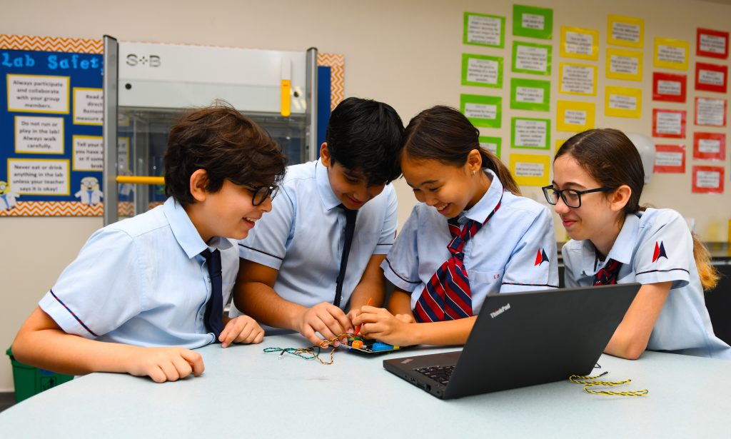 Children engaged in Labs study at GEMS Dubai American Academy