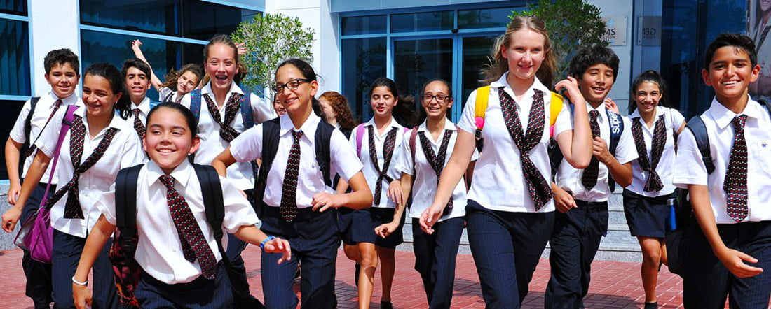 Photograph of happy childen at GEMS Wellington International School in Dubai
