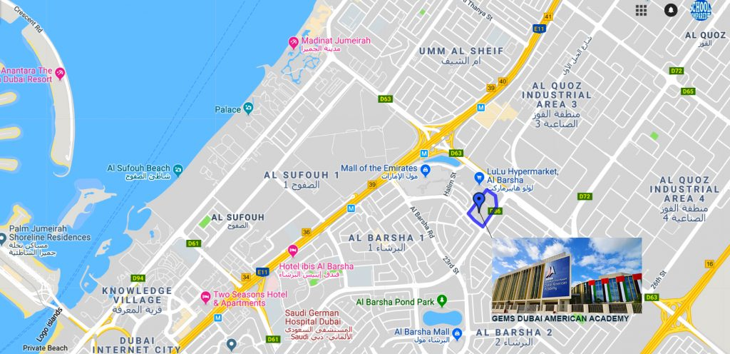 Map showing the location of GEMS Dubai American Academy in Al Barsha