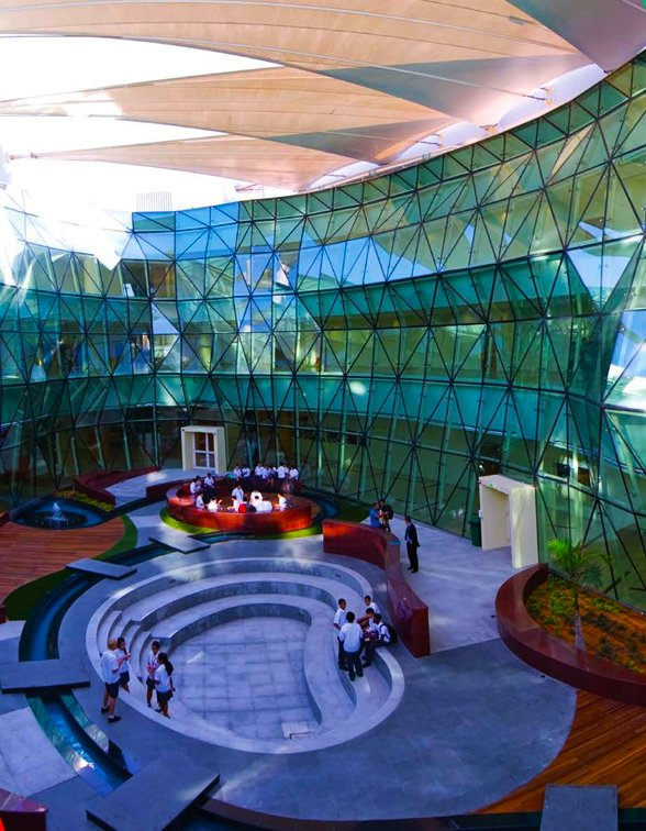 Photograph showing the central atrium at Al Bateen Academy in Abu Dhabi