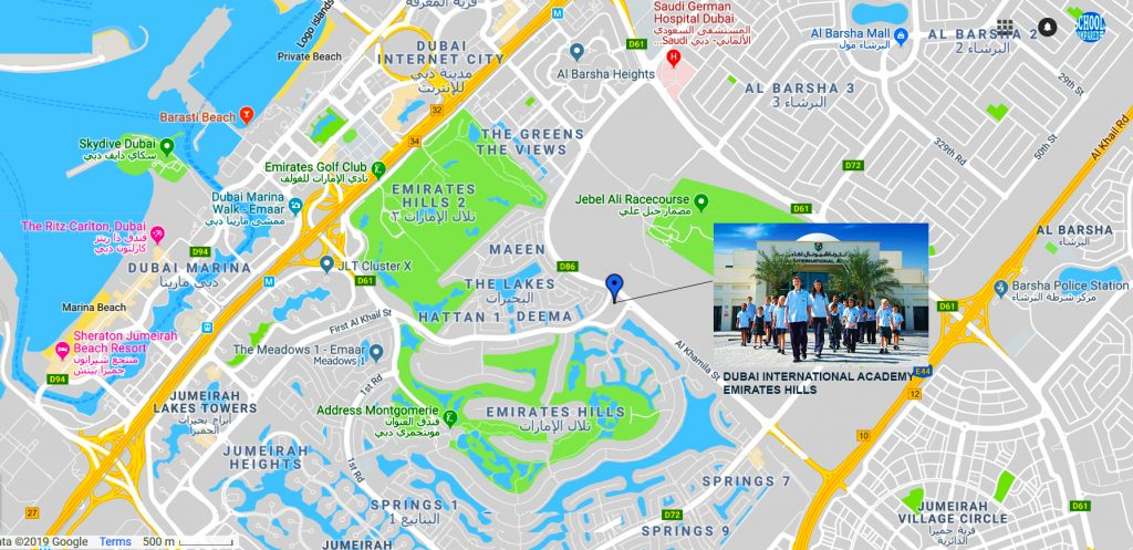 Map showing directions to and location of Dubai International Academy Emirates Hills