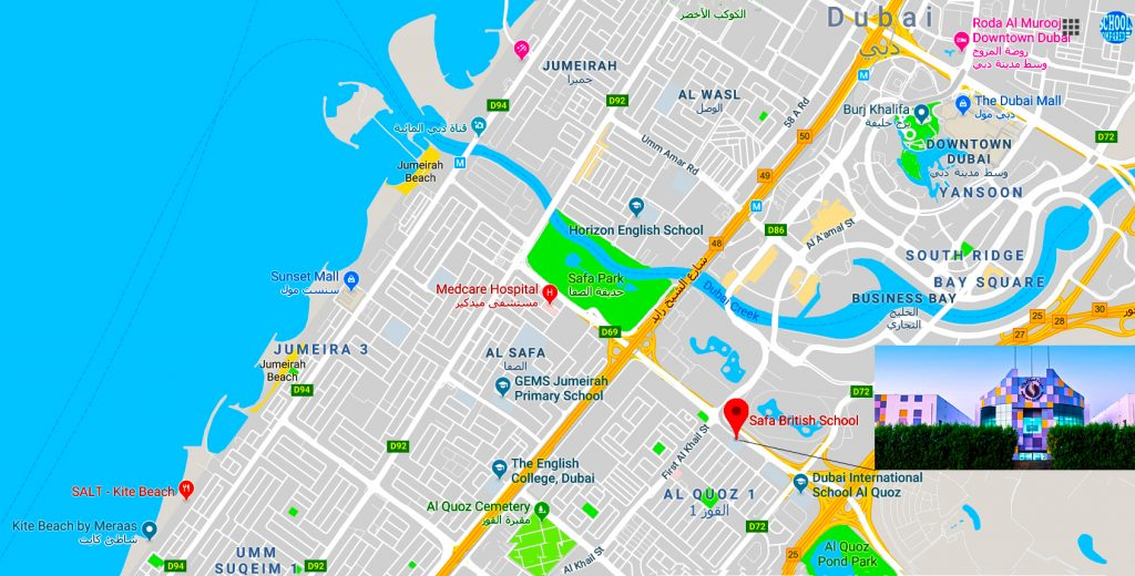 Map showing location of, and directions to, the dedicated Primary, Safa British School, in Dubai