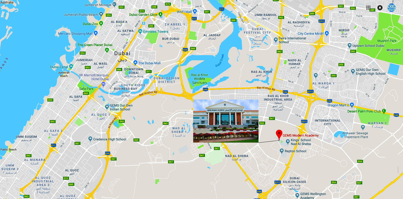 Map showing the location of GEMS Modern Academy in Dubai