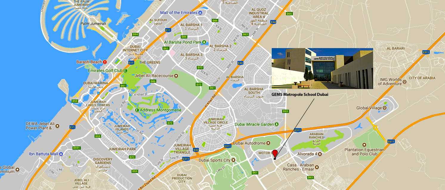 Map showing location of GEMS Metropole School In Dubai
