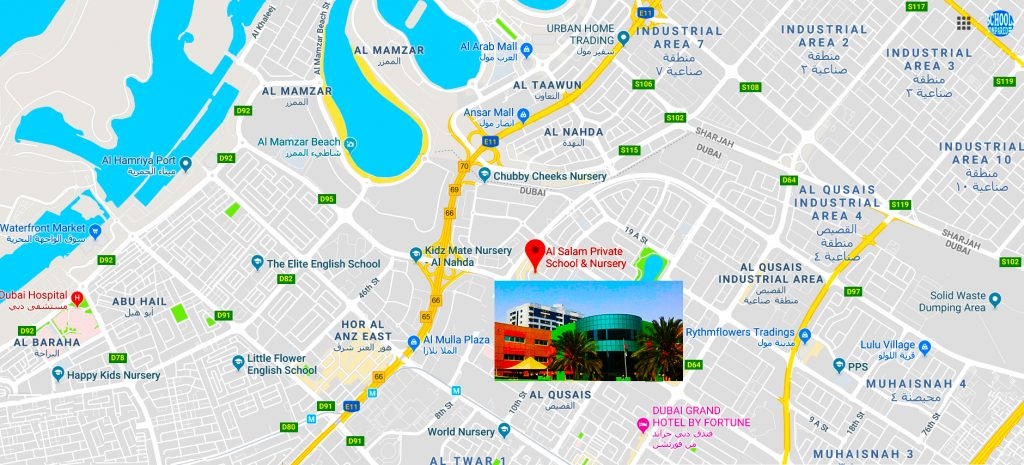 Map showing location of and directions to Al Salam Private School in Dubai