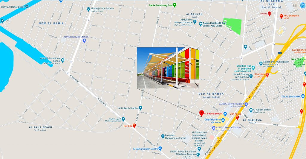 Map showing the location of, and directions to, Al Basma School in Old Al Bahya Abu Dhabi.