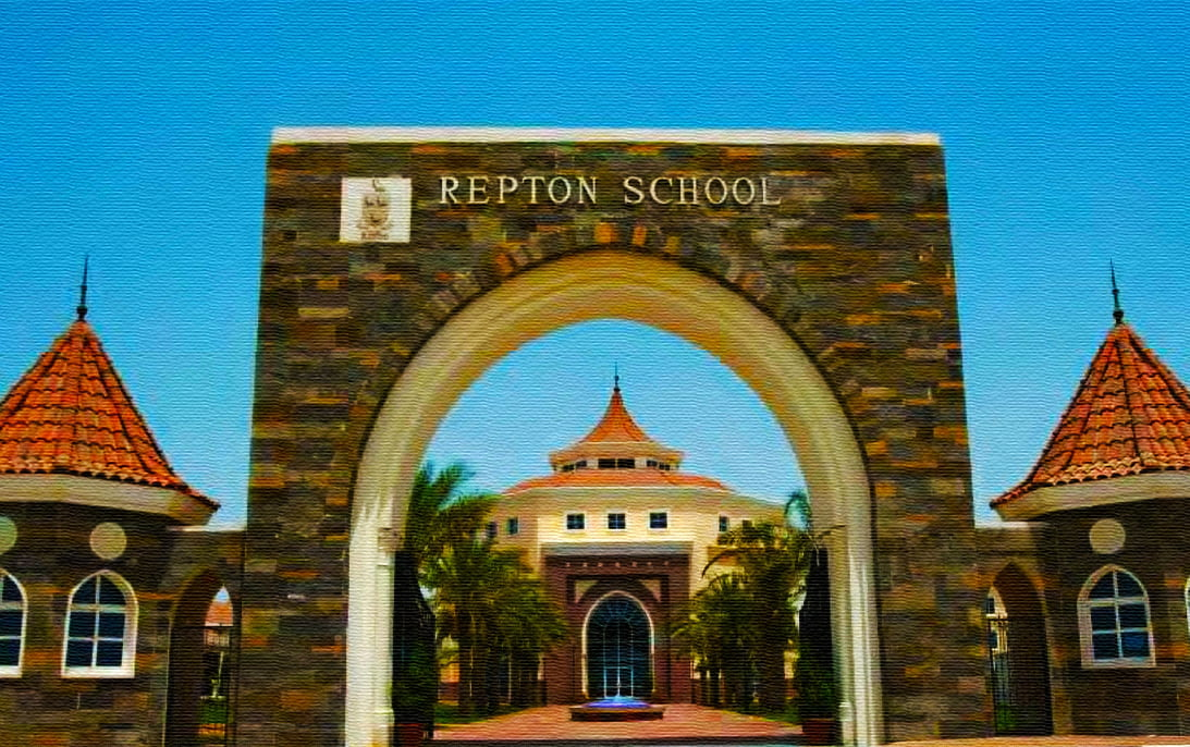 Image showing turreted buildings and entrance archway of Repton School Dubai