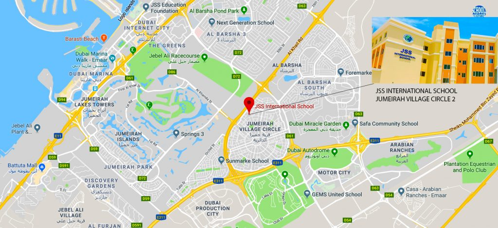 Map showing location of and directions to JSS International School in Jumeirah Village Circle 2 in Dubai