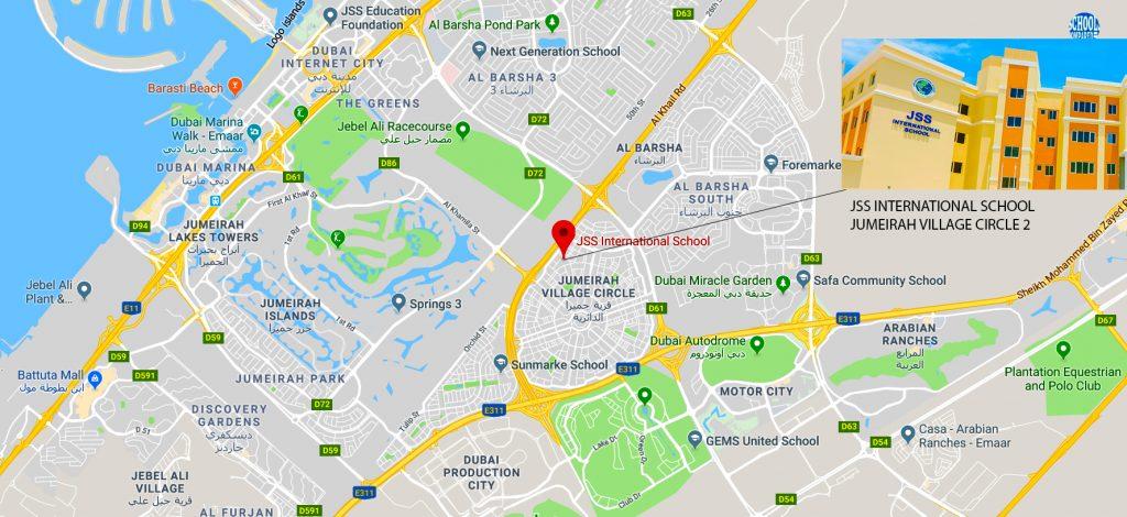Mapa na nagpapakita ng lokasyon at mga direksyon sa JSS International School sa Jumeirah Village Circle 2 sa Dubai