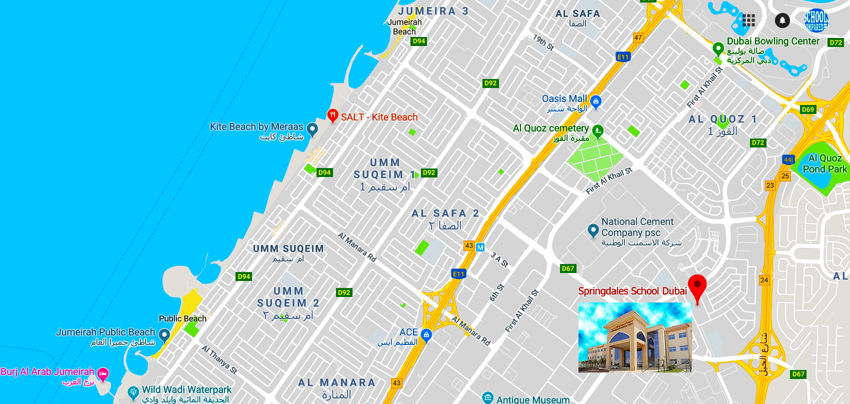 Map showing the location of Springdales School in Dubai next to Jumeira University