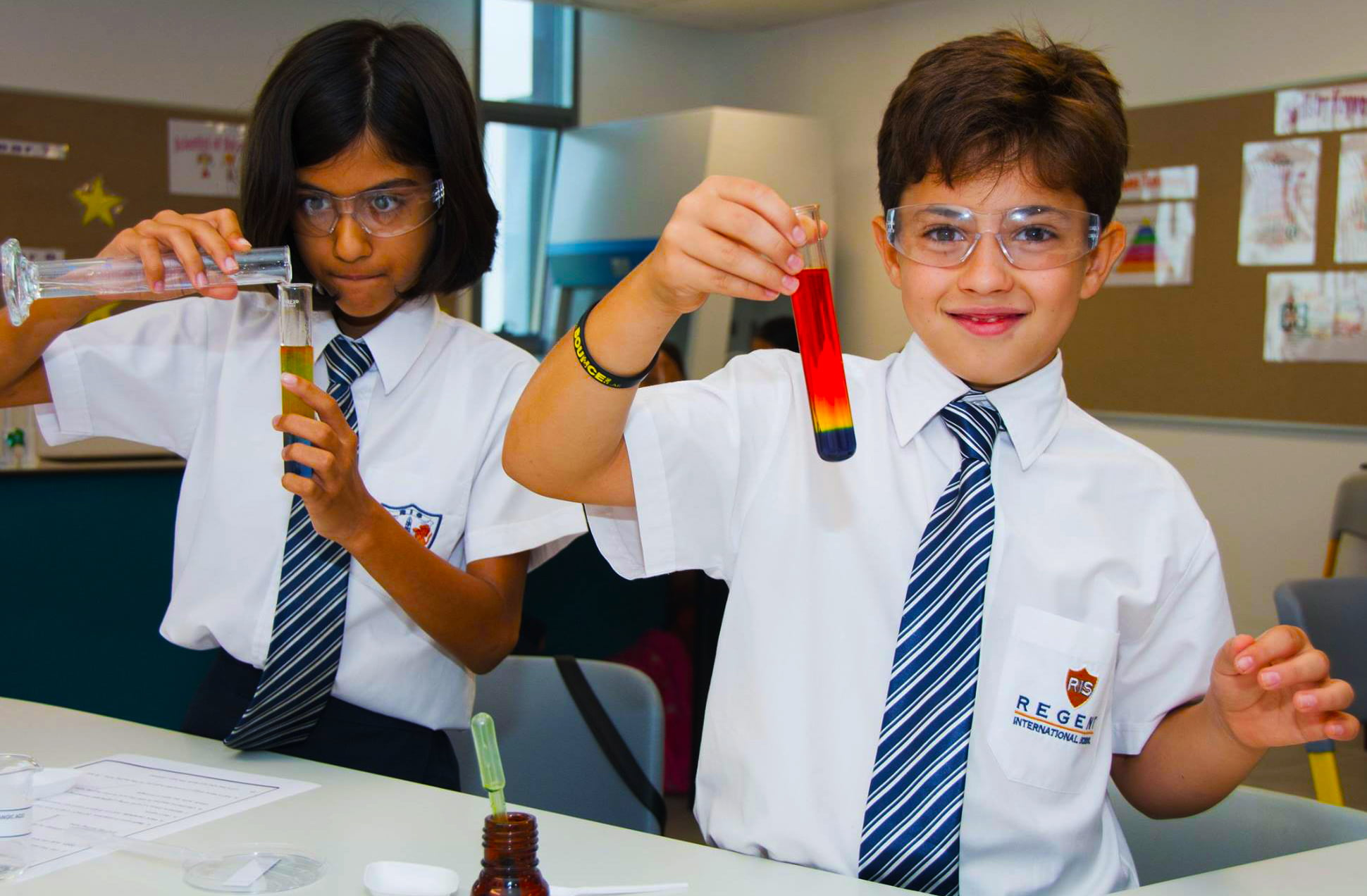 Photograph of children conducting scientific experiments at Regent International School in Dubai