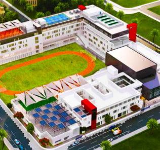 Pangunahing mga gusali sa Sunmarke School mula sa hangin
