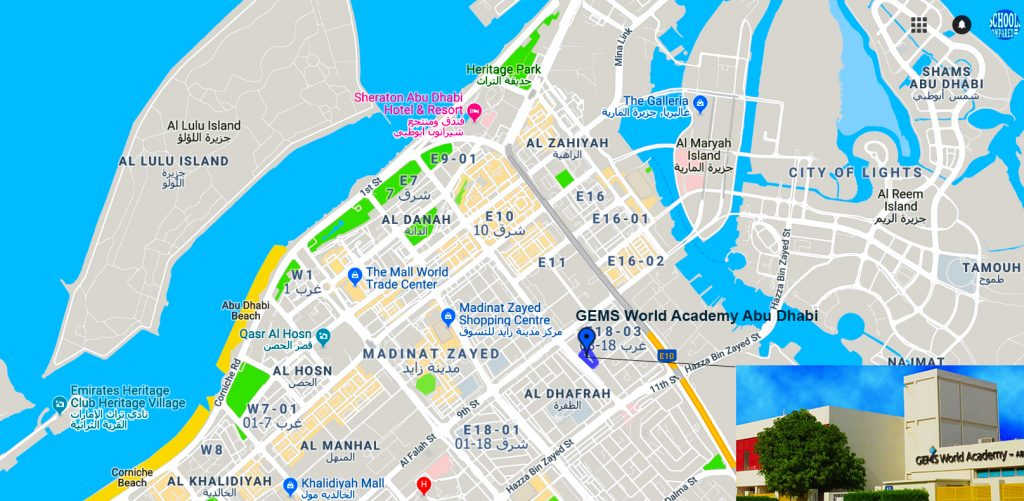 Map showing directions to and location of GEMS World Academy Abu Dhabi
