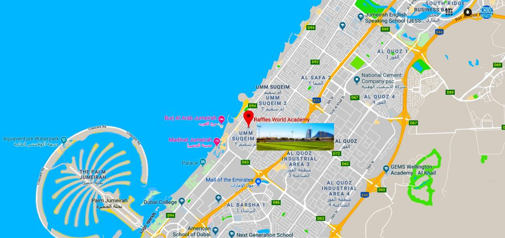 Map showing the location of and directions to Raffles World Academy in Dubai
