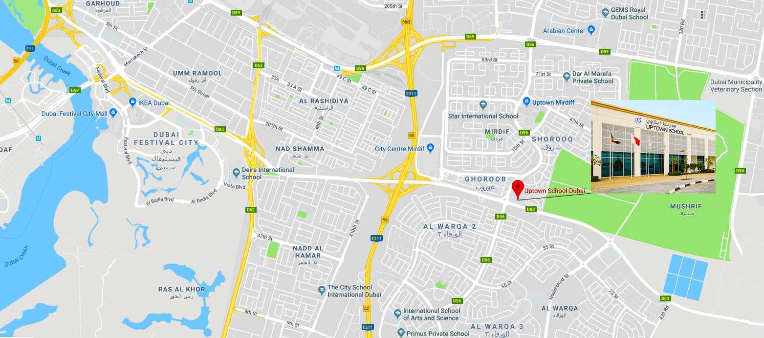 Mapa na nagpapakita ng lokasyon ng Uptown School sa Dubai