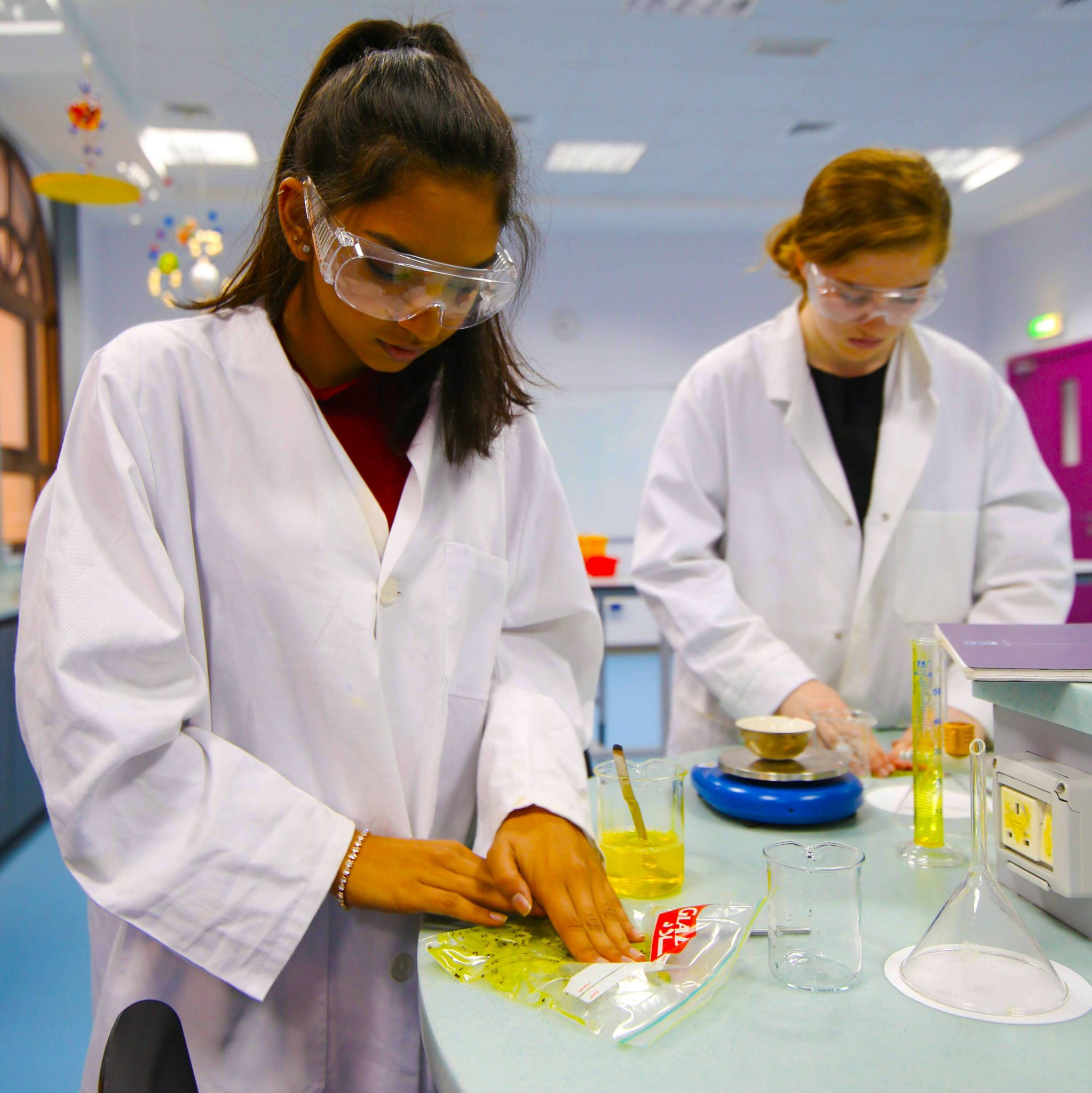 Science lessons at the British International School Abu Dhabi being held in new labs developed within the school in 2018
