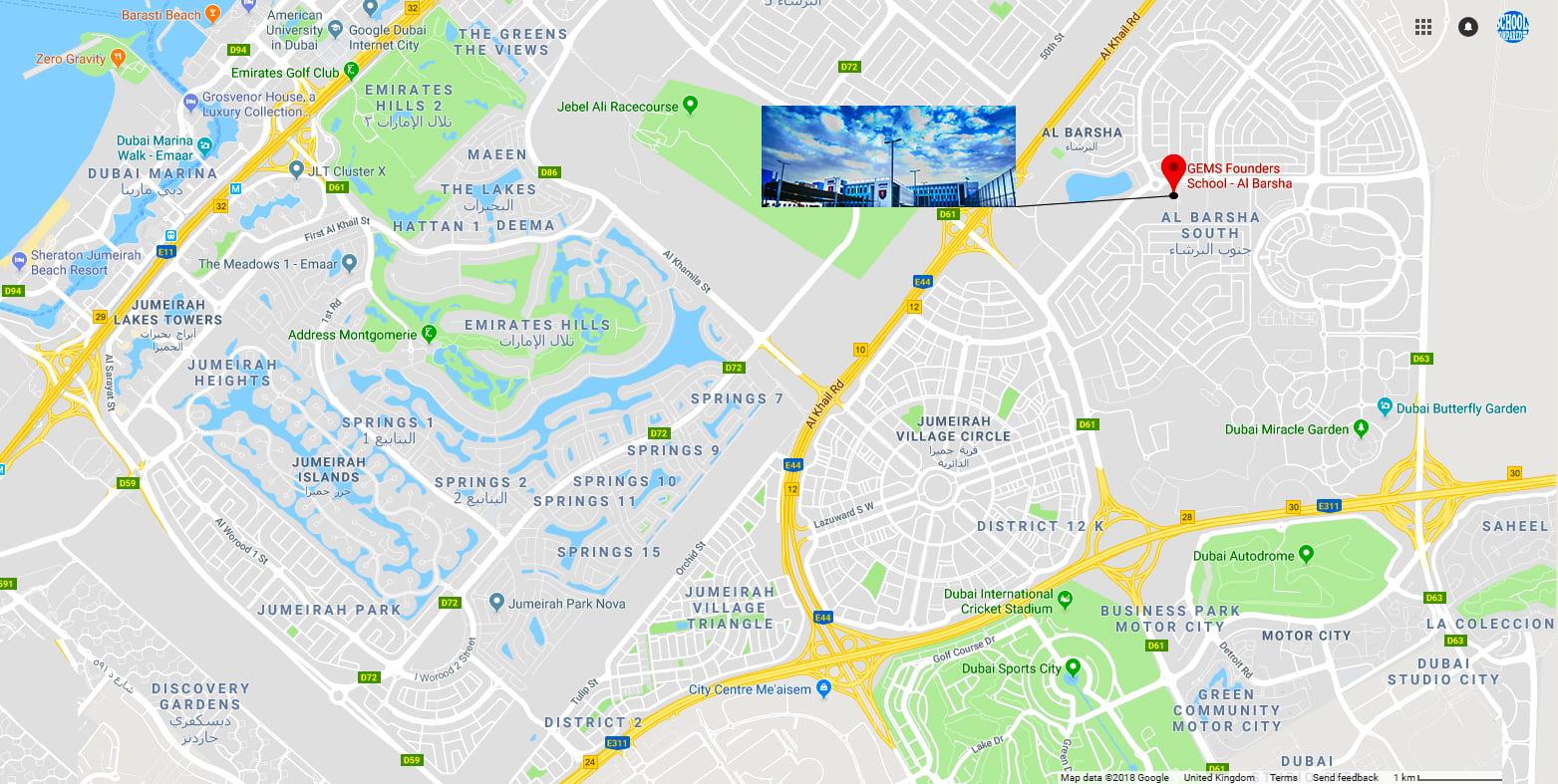 Karte mit dem Standort der GEMS Founders School in Dubai einschließlich Wegbeschreibung zur Schule