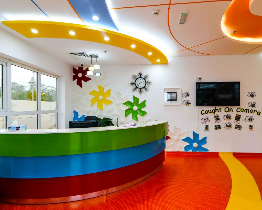 The dedicated Primary reception area at the British curriculum Smart Vision School in Dubai