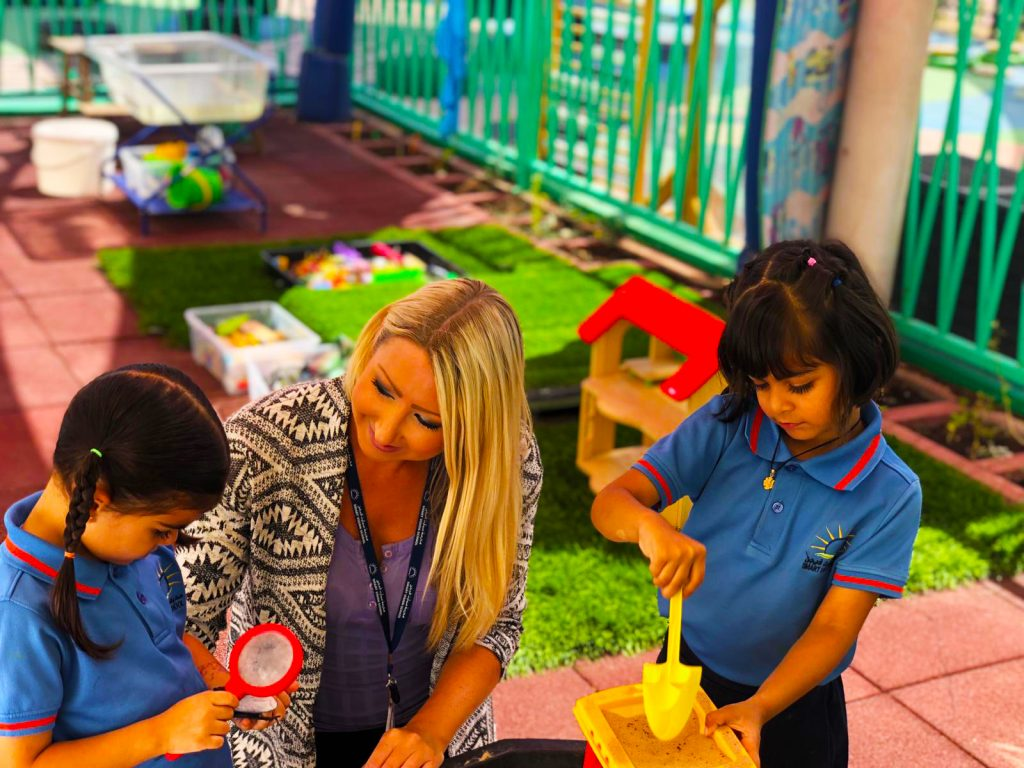 Photograph of EYFS children learning through play at the new British curriculum Smart Vision School in Dubai