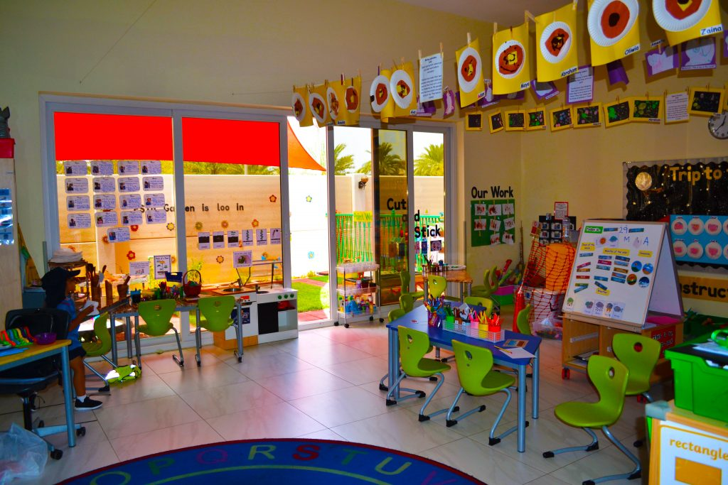 Photograph of an FS classroom at Smart Vision School in Dubai highlighting the celebration of each child's work and inspirational use of space