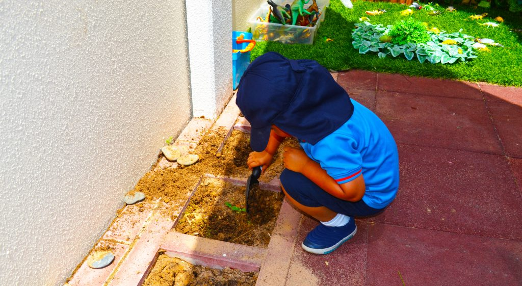 Photograph of a child planting seeds in one of the Seed Gardens attached to each classroom at Smart Vision School in Dubai