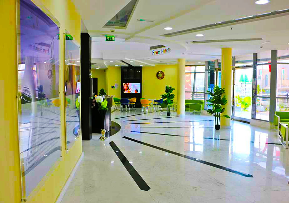 Photograph of the main parent reception area at Smart Vision School in Dubai