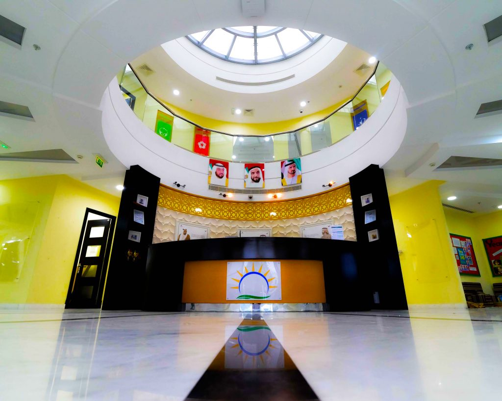 Photograph of the landmark atrium within the main landmark Reception at the new English national Curriculum Smart Vision School in Dubai