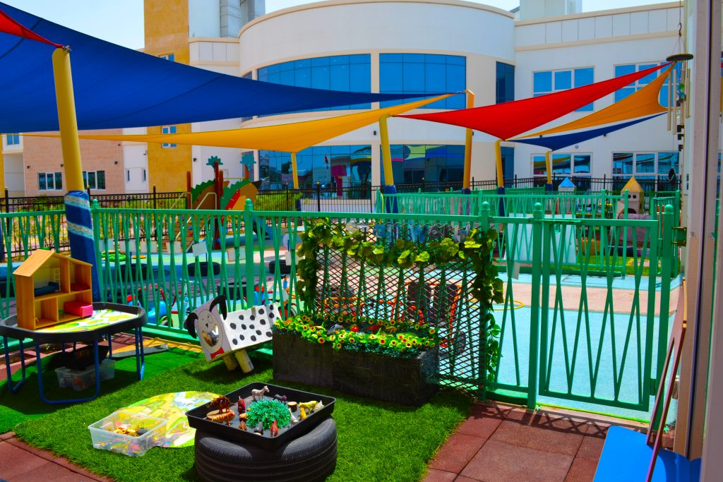 Photograph of the shaded central play areas at Smart Vision School in Dubai