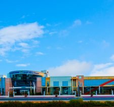 Photograph taken from outside the new Smart Vision School in Dubai showing the landmark school frontage and entrance