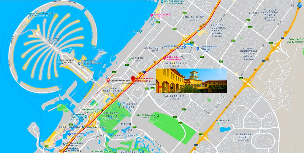 Map showing location of and directions to iCademy Middle East in Dubai. The school is based in Dubai Knowledge Village.