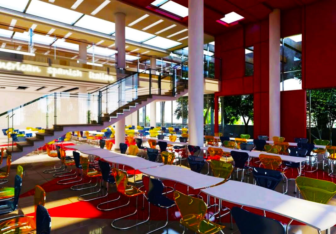 British Columbia Canadian School rendered photograph showing how the multi-layered school cafeteria is being designed to include a dedicated area for parents