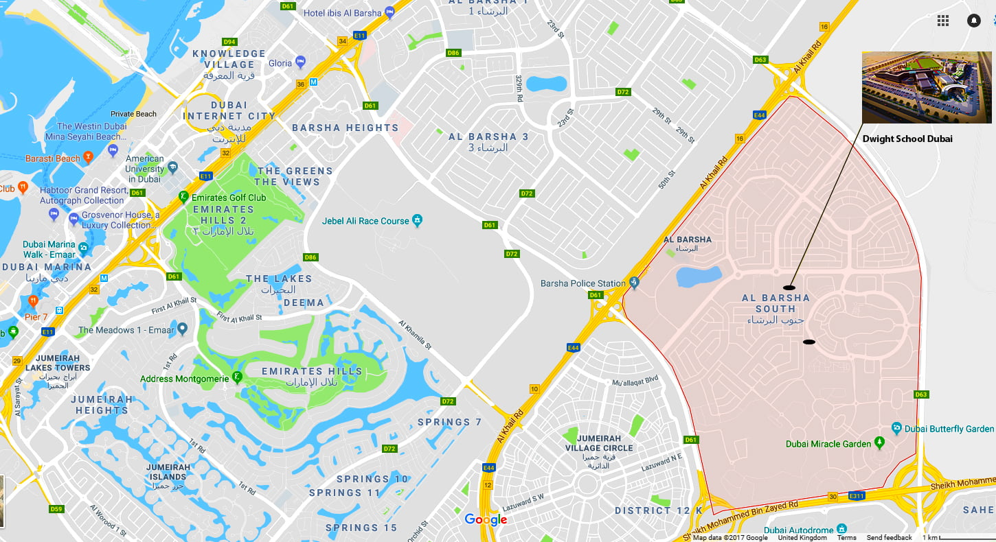 Map of Al Barsha South in Dubai showing the location of Dwight School Dubai launching in September 2018