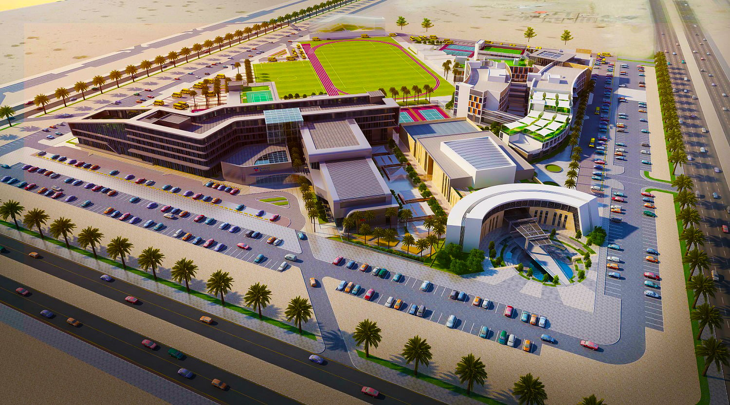 Architectural image of the new Dwight School Dubai which will share a super campus with the new Brighton College Dubai also opening in September 2018