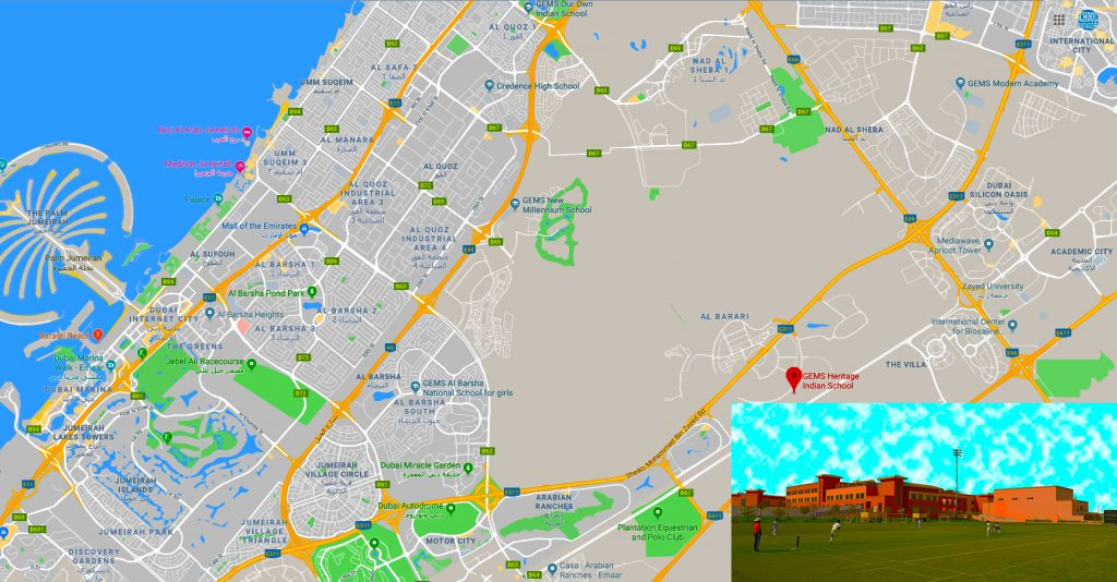 Map showing the location of and directions to GEMS Heritage Indian School in Dubai