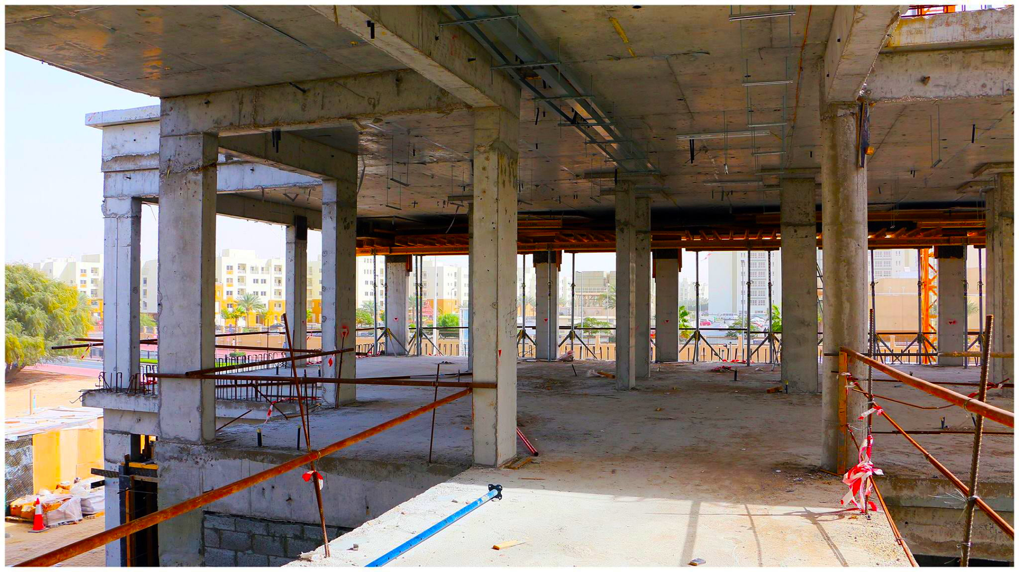 Photograph showing the progress made so far in construction the new Ambassador School Dubai campus in Al Khail Gate