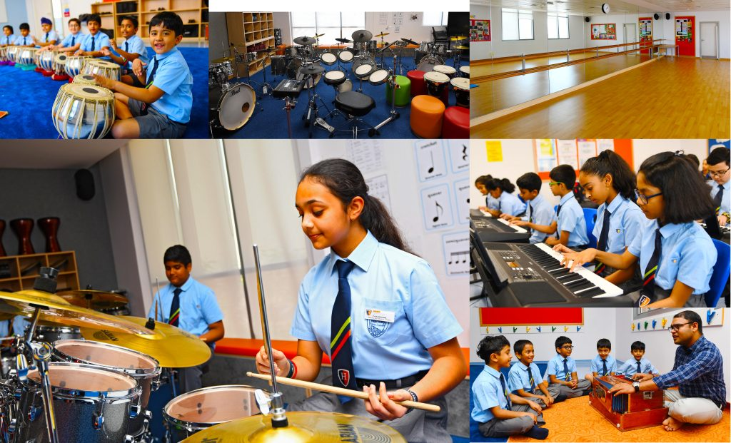 Performing Arts at GEMS Heritage Indian School is integrated within the curriculum. Here we see photographs of the dedicated Dance Studio, drumming lessons, traditional instrument lessons and extensive instrument provision at the school.