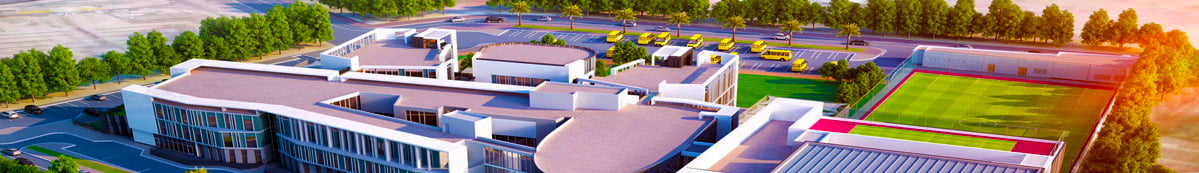Close up image of The Aquila School Dubai showing an aerial shot of the school grounds and facilities