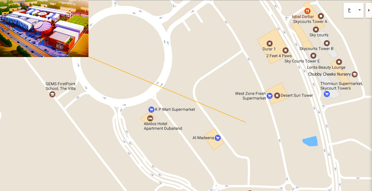 Map showing directions to the new Aquila School in Dubai