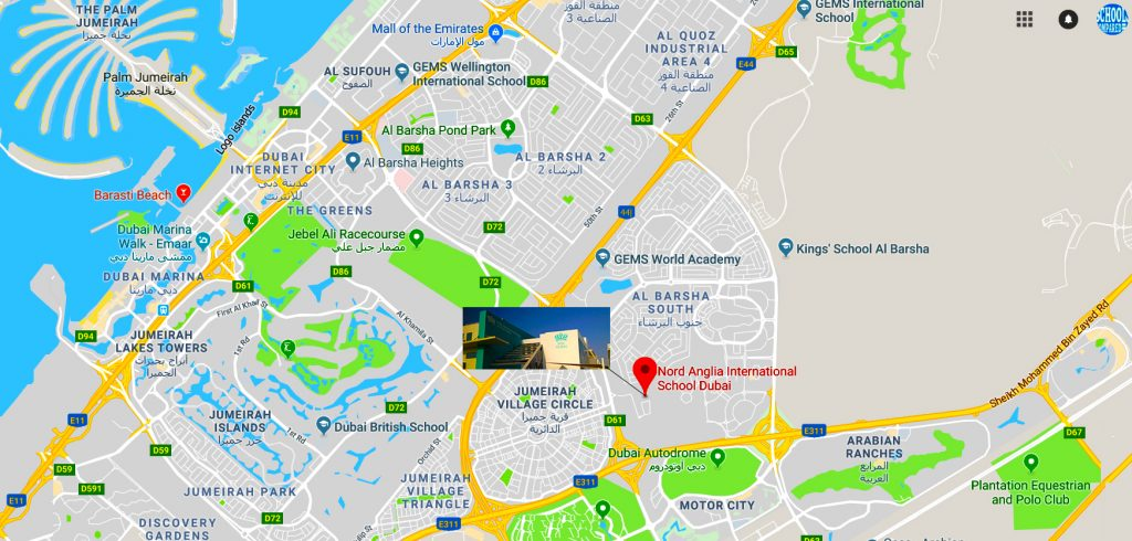 Map showing location of and directions to Nord Anglia School Dubai