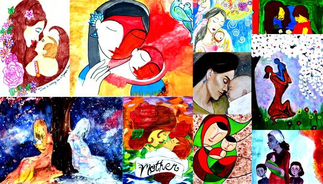 صورة للأعمال الفنية التي أنتجها الأطفال في مدرسة الميريلاند الدولية في أبوظبي تحتفل بأمهاتهم