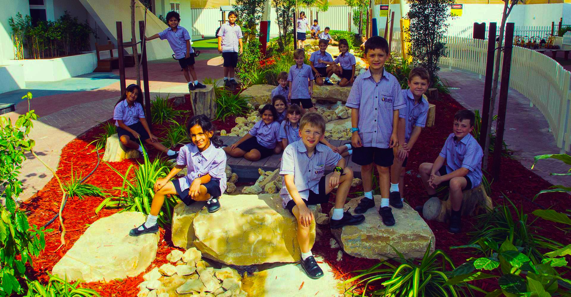Image showing children within one of the many outdoor water features for play and learning at Safa Community School in Dubai