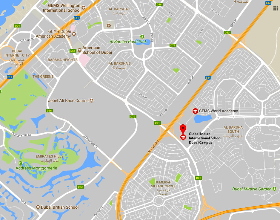 Directions to the Global Indian International School Dubai