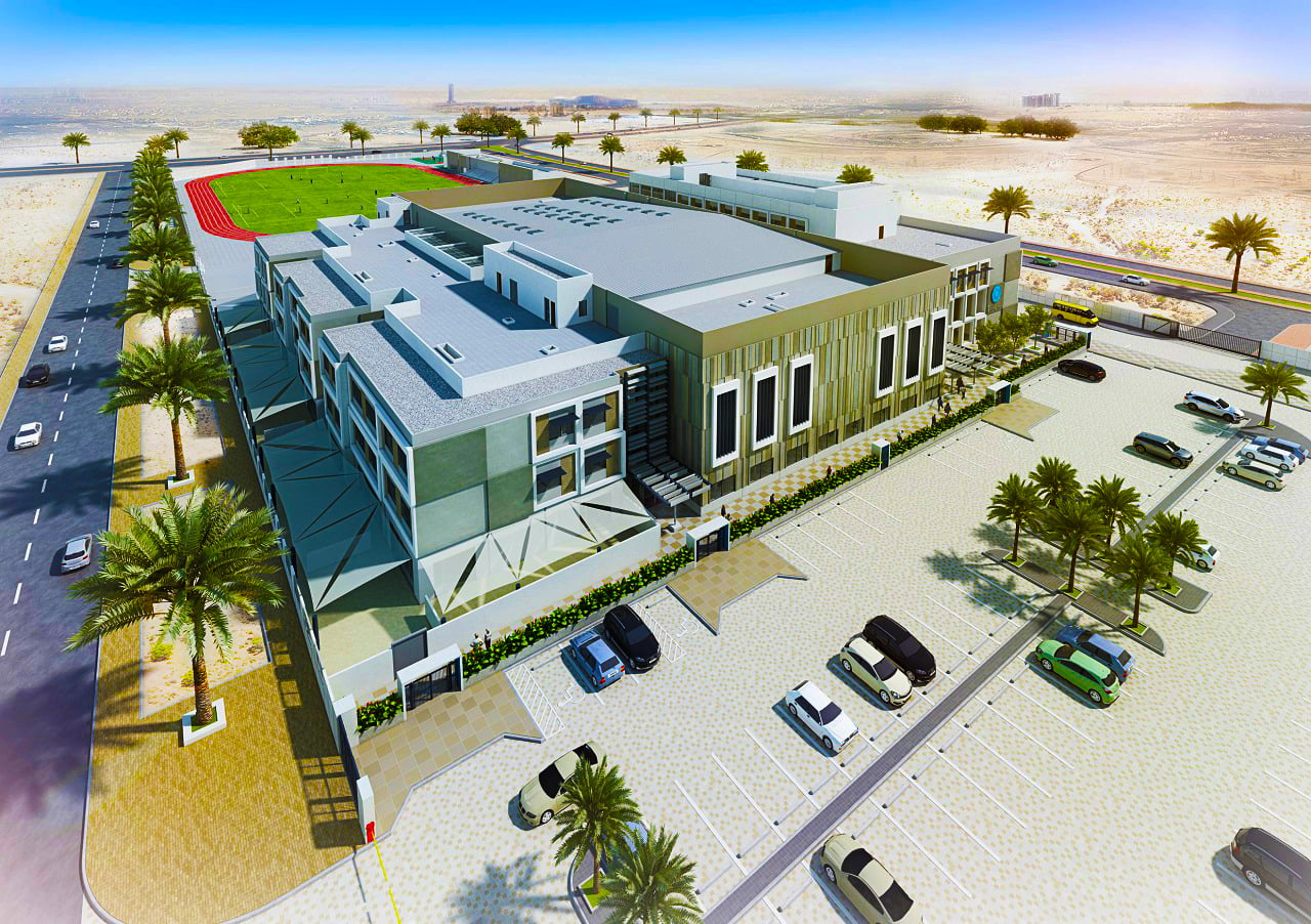 "Architectural render for the planned ESOL ""flagship"" Dunecrest American School in Dubai"