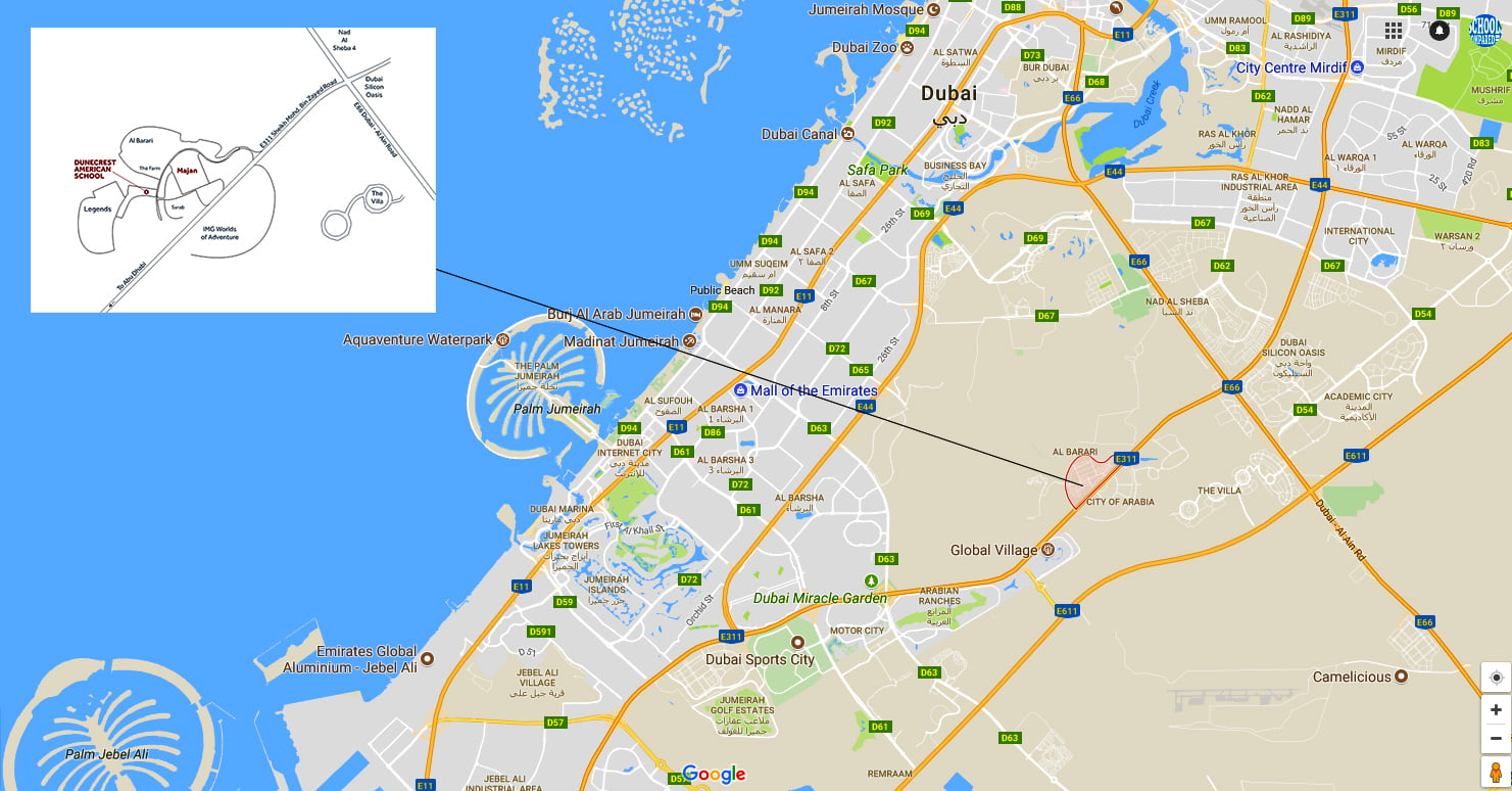 A map showing the location of Dunecrest American School in Dubai