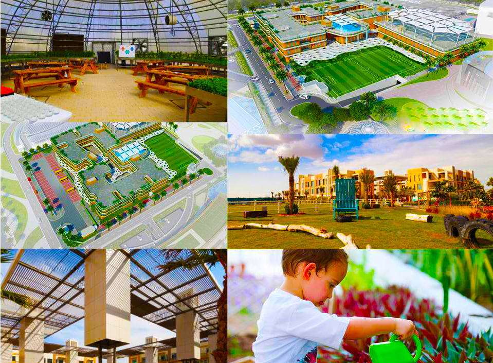 Collage of images capturing key features of Fairgreen International School in Dubai including its Biodome, grounds and focus on sustainability