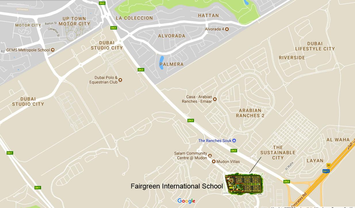 Ang mapa na nagpapakita ng lokasyon ng Fairgreen International School sa The Sustainable City Dubai
