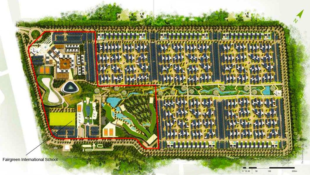Ipinapakita ng Masterplan ang pag-agaw sa loob ng Fairgreen International School sa loob ng Sustainable City Dubai