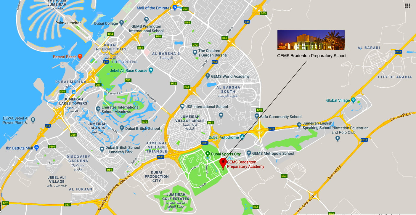 Map showing directions to and location of GEMS Bradenton Preparatory Academy in Dubai Sports City