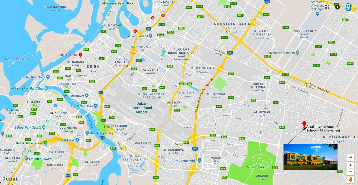 Karte mit dem Standort der geplanten neuen Ajayal British School Dubai in Al Khawaneej