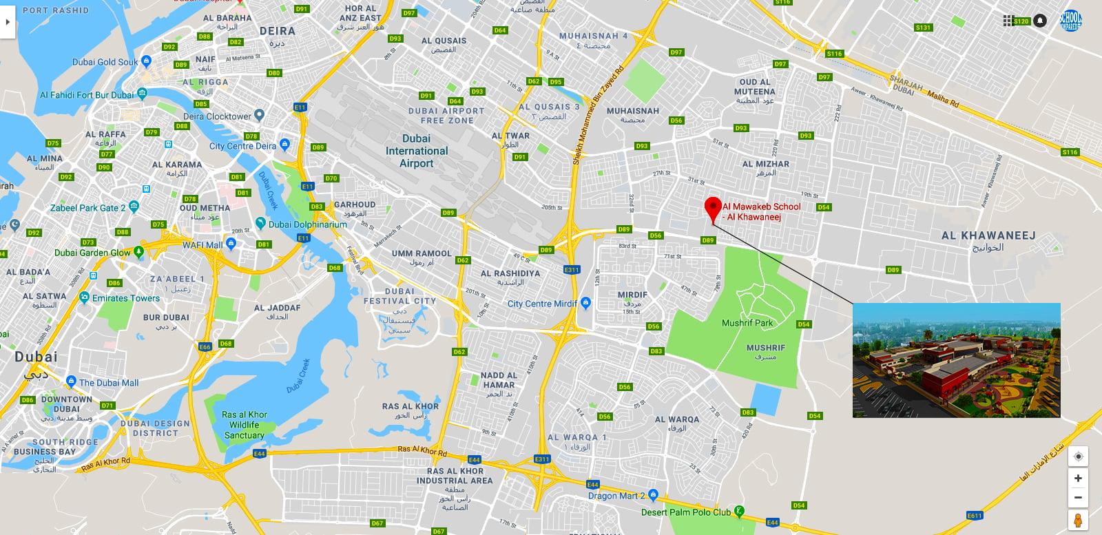 Karte mit dem Standort der geplanten Al Mawakeb-Schule Al Khawaneej, die im September 2018 eröffnet werden soll